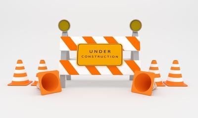 Under construction sign , web construction sign 3D rendering