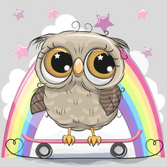 Cute Cartoon Owl with skateboard