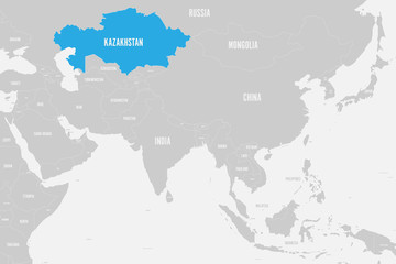 Foto op Plexiglas Wereldkaart Kazakhstan blue marked in political map of Southern Asia. Vector illustration.