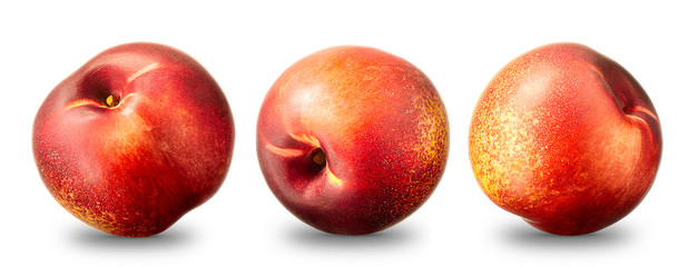 Collection of nectarine peach isolated on white background.