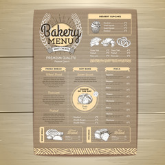 Vintage bakery menu design on cardboard background. Restaurant menu