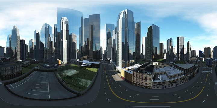 HDR. Equirectangular projection. Spherical panorama. Panorama of the city. Environment map.