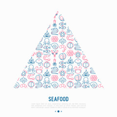 Seafood concept in triangle with thin line icons: lobster, fish, shrimp, octopus, oyster, eel, seaweed, crab, ramp, turtle. Modern vector illustration for restaurant menu.