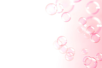 Abstract pink soap bubbles floating background Fototapete