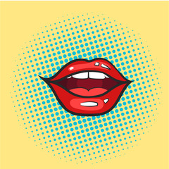 Pop art glossy Vector Lips. Open Sexy wet red lips with teeth. Retro comic style.