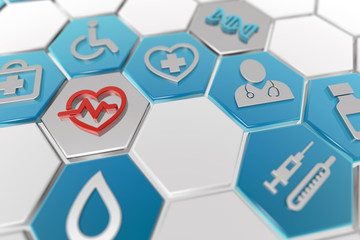 medical icons in hexagonal pattern