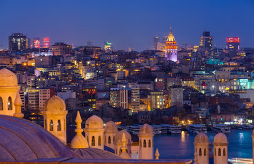 Sunset over Bosphorus, a view from Suleymaniye Mosque, Istanbul, Turkey