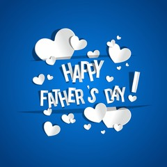 Happy Father's Day Greeting Card With Hearts On Background vector illustration