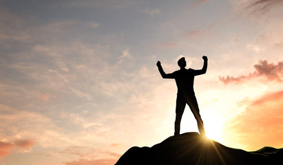 Business success. Silhouette of a man celebrating success at the top of a mountain. 3D Rendering