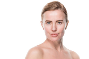 Attractive female with clean skin isolated on white