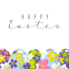 Easter card with color floral decorated eggs
