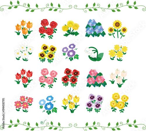 季節の花のイラストセット アイコン素材fotoliacom の ストック画像と