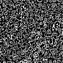Seamless background of symbols of modern human life