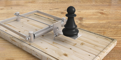 Black chess pawn on a mouse trap on wooden floor. 3d illustration
