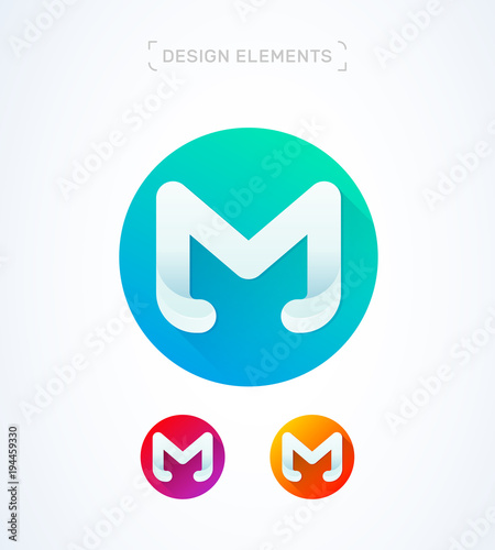 vector abstract letter m logo rounded template material design flat long shadow icon