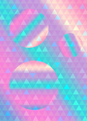 Holographic, retro neon background with geometric triangle pattern