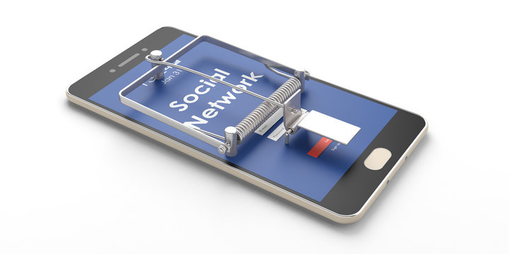 Social network. Smartphone mouse trap isolated on white background. 3d illustration