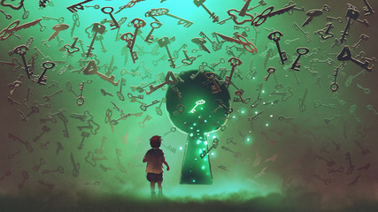 Foto op Aluminium Grandfailure little boy standing in front of the keyhole with the green light and many keys floating around him, digital art style, illustration painting