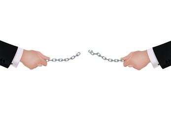 una catena tesa che si rompe tra le mani