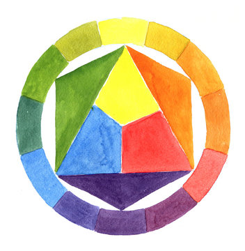 Color wheel on white background. Watercolor illustration.