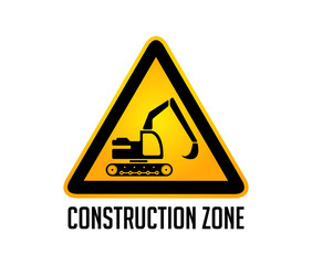 Construction zone warning sign - working excavator concept