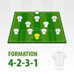 Football players lineups, formation 4-2-3-1. Soccer half stadium.