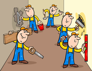 manual workers or decorators characters group