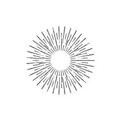 Sun rays hand drawn, vector illustration, Sunburst Vector, Sun rays Icon Hipster