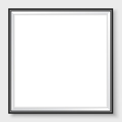 Picture frame on the wall square realistic vector black