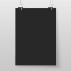Poster on binder clips black mock up grey wall