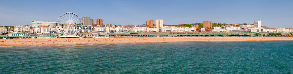 Brighton promenade and shingle beach panorama East Sussex South East England UK