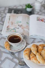 coffee, pastry, morning, book, breakfast, rolls