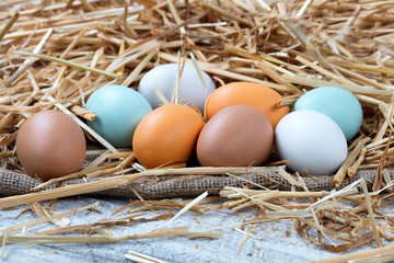 Assorted raw chicken eggs resting on straw and wooden background