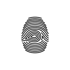 Fingerprint icon identification isolated on white background. Security and surveillance system