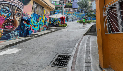 Comuna 13 Medellin Colombia 2018-02-20 Walking up the hill