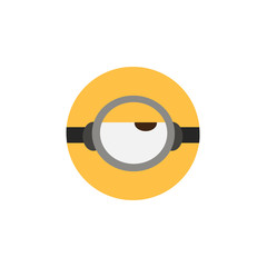 Vector illustration of goggle with one eye on yellow color background