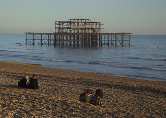 Brighton's west pier in the evening sun