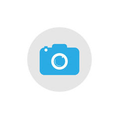 Camera icon. Flat design. Vector illustration. Blue on grey/white background.