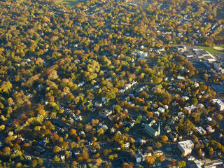 Aerial view of autumn colors and neighborhood near Newark, New Jersey.