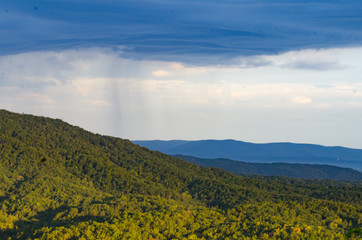 Rainstorm passing in the distance near Cheaha Mountain, Alabama, USA