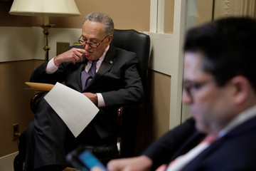 Senate Minority Leader Chuck Schumer (D-NY) prepares for a news conference