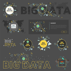 Big data vector illustration concept. Graphic elements collection.