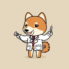 Cute cartoon character design Shiba Inu dog in Doctor costume