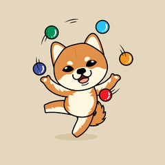 Cute cartoon character design Shiba Inu dog ,playing with balls like a juggler