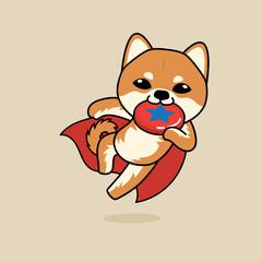 Cute cartoon character design Shiba Inu dog dog super dog, playing Frisbee or flying plastic disc