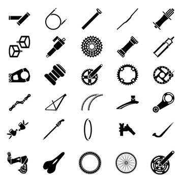 Fresh bicycle part Icons Pack. Icon of bicycle component.Mountain bike parts. Vector Ilustration.