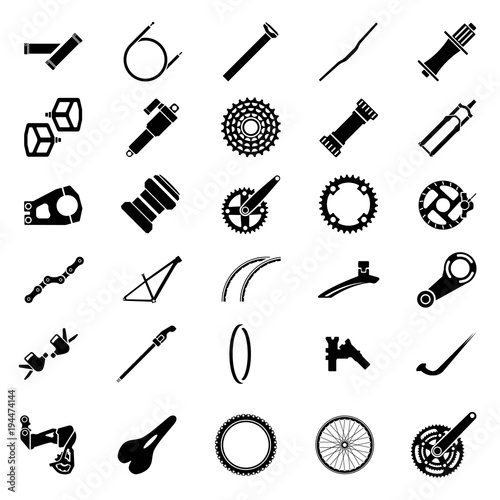Fresh bicycle part Icons Pack  Icon of bicycle component