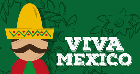 viva mexico man mexican with mustache hat banner vector illustration