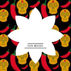 viva mexico white silhouette flower with skull chili pepper background vector illustration