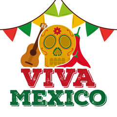 viva mexico skull guitar chili pepper garland decoration vector illustration